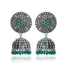 Silver Plated Oxidized Designer Fashion Jhumki Earring Costume Jewelry  - $5.99