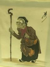 Pair Of Original Elder Couple Asian Painting On Material Silk - $24.19