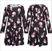 Women Long Sleeves Plus Santa Christmas Xmas Gifts Print Flared Swing Dress Top - $29.88