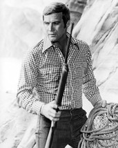 Lee Majors in The Six Million Dollar Man in check shirt holding rifle 16x20 Canv - $69.99