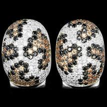 Pave Leopard Style 5A Cubic Zirconia Sterling Silver Huggie Hoop Earrings - $69.29