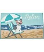 """KITCHEN ACCENT RUG (nonskid back)(17"""" x 28"""") DOG ON THE BEACH CHAIR, REL... - £12.76 GBP"""