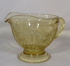 """Federal Glass Creamer Footed Sharon - Cabbage Rose Amber 3.5"""" Tall Vintage 30s - $3.96"""