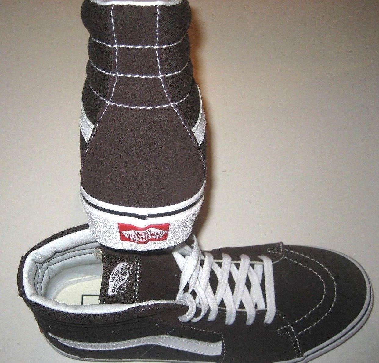 Vans Mens Sk8-Hi Chocolate Torte True White Canvas Suede Skate shoes Size 9 NWT image 4