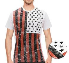 Men's USA American Flag Casual Cotton Shirt Summer Beach Patriotic T-shirt image 1