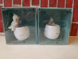 Department 56 Snowbabies Little Angels Tea Light Holder PEACE & LOVE NEW  - $28.80