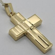 18K YELLOW GOLD PENDANT SQUARE STYLIZED CROSS, WORKED, SMOOTH, MADE IN ITALY image 6