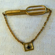 Vintage Masonic Freemason Tie Bar Clip Chain - Gold Tone - $14.01