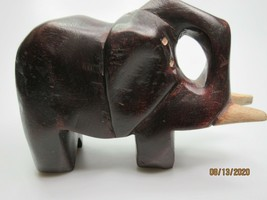 """Vintage Abstract Elephant Hand Carved Wooden Figurine Oxblood Red 5.75"""" ... - $18.78"""