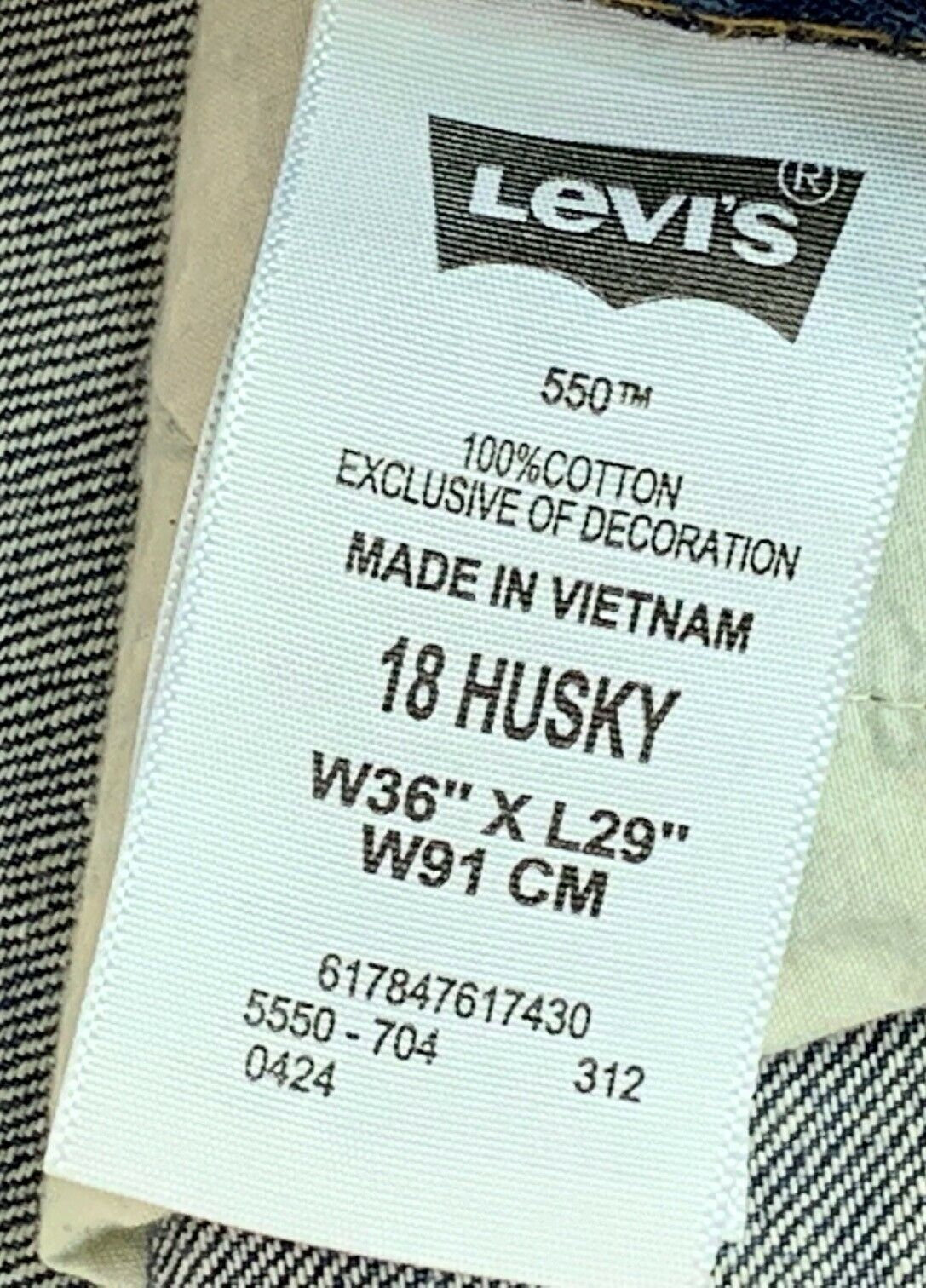 LEVI  550 BOY'S RELAXED FIT JEANS 18 Husky 36 x 29  image 2