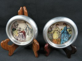 Vintage Victorian décor Ladies n Aluminium Glass Mid Century deco trivets - $38.00