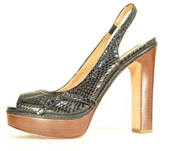 Ann Taylor shoes heels 9M platform black leather snakeskin high chic career image 1