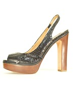 Ann Taylor shoes heels 9M platform black leather snakeskin high chic career - $39.59