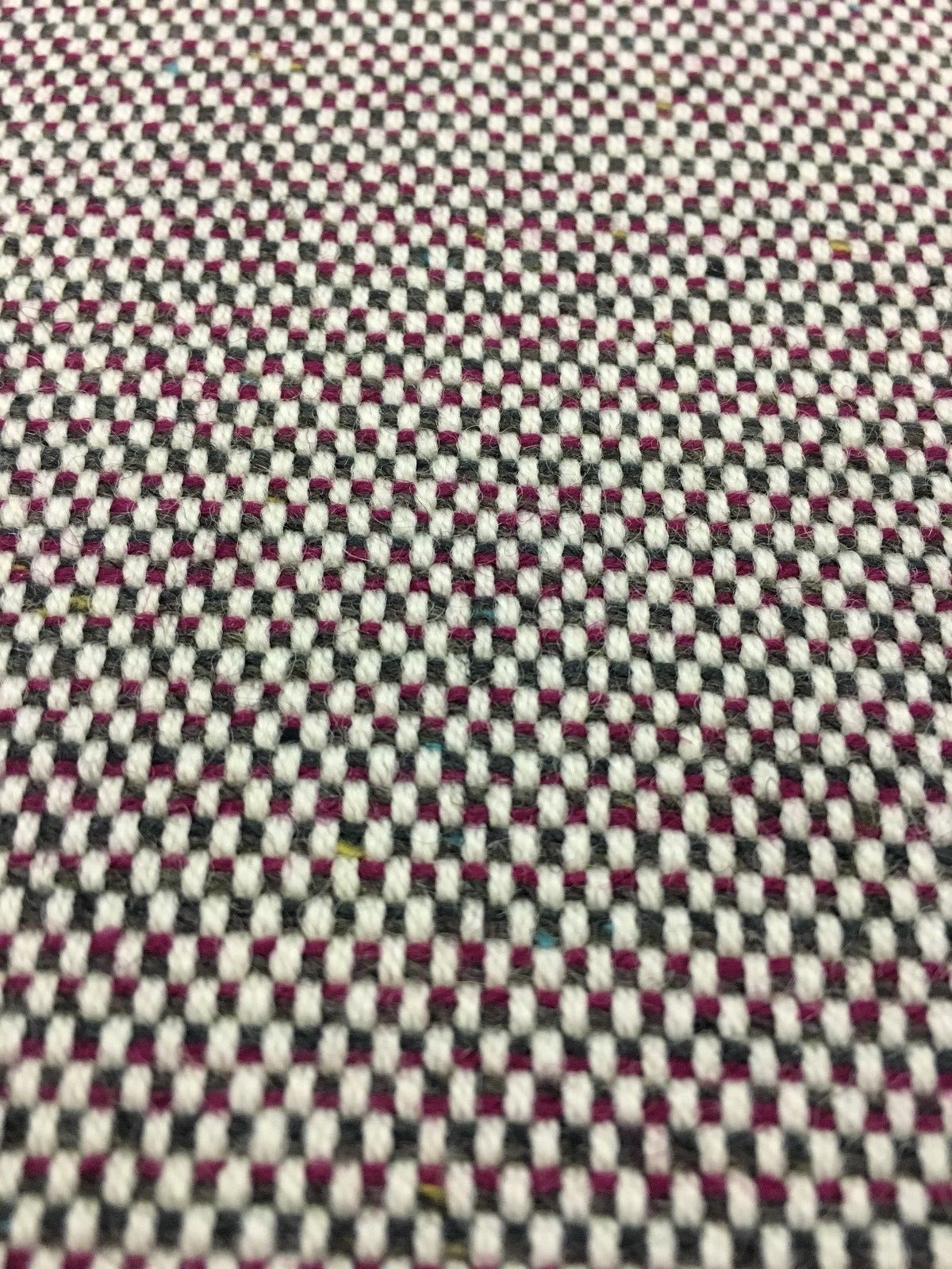 1.375 yds Geiger Upholstery Fabric Mid Century Wool Tweed Ruby 16603 - NS