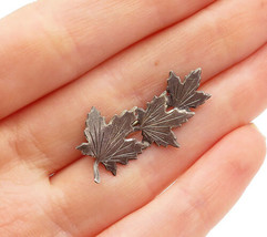 925 Sterling Silver - Vintage Petite Dark Tone Autumn Leaves Brooch Pin - BP4905 - $21.59