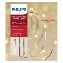 Philips 30ct Christmas LED Dewdrop Lights Battery Operated Warm White Pink Wire image 1
