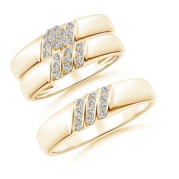 Men's & Women's Engagement Ring Diamond Trio Set 14k Yellow Gold Over 925 Silver