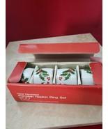 Hand Decorated Porcelain Christmas Napkin Ring Set No.3345-30  In Box Ne... - $19.99
