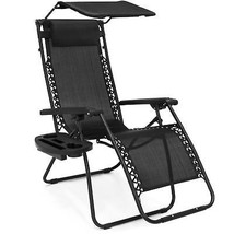 Folding Zero Gravity Recliner Lounge Chair w/  Shade & Cup Holder (Black) - $66.90