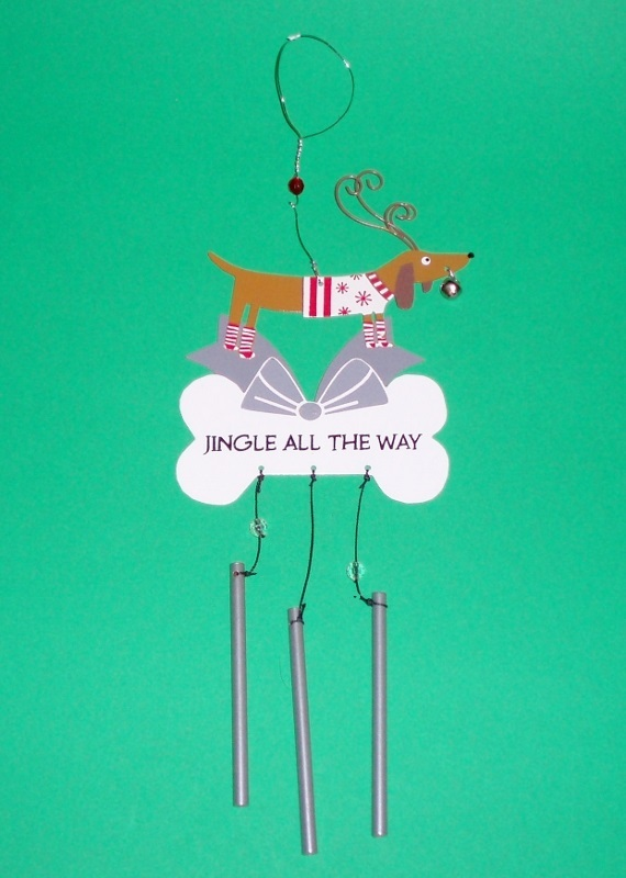 "Primary image for Metal Dachshund Chime Ornament / Wind Chime ""Jingle All the Way"""