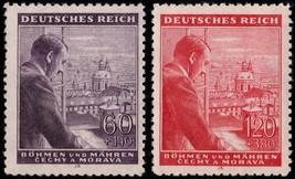 1943 Hitler in Prague Set of 2 Bohemia Moravia Stamps Catalog Number B18-19 MNH