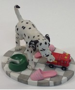 Hamilton Collection Dalmatian Dog Figurine Spot Plays With Fire Truck 1996 - $15.79