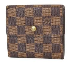 Authentic LOUIS VUITTON Elise Double Snap Damier Ebene Bifold Wallet #39... - $215.00