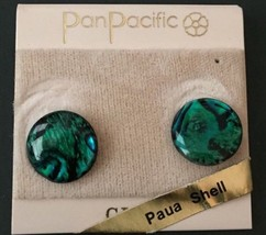 Vintage Paua Shell Clip On Earrings Green Black Round Fashion Jewelry - $14.84