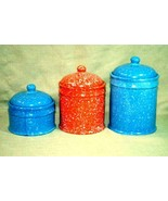 Spongeware Set of 3 Canisters Unknown Maker - $10.07