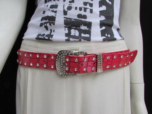 Neu Damen Rot Kunstleder West Modischer Gürtel Silber Design Mädchen GRÖSSE S M