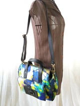 Kate Spade Watercolor Nylon Abstract Floral Leather Trim Bag Satchel Han... - $247.89