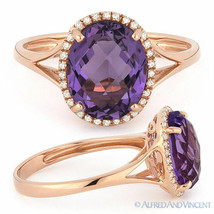 2.64ct Oval Cut Purple Amethyst Gem & Diamond Halo Engagement Ring 14k R... - €380,68 EUR