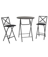 COSCO 3 Piece Counter Height Bistro Set, Wood Grain Table, 2 Fabric Padd... - $130.45