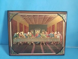"""9""""x7"""" JESUS AND APOSTLES LAST SUPPER.BEAUTIFUL GLOSSY PHOTO ON WOOD SURF... - $46.74"""