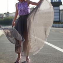 Black Polka Dot Tulle Skirt Black Pleated Tulle Midi Skirt image 9