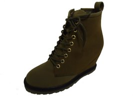 BE&D by Maison Dumain Camden Olive Wedge Ankle High Women Laced Shoe - $54.99