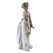 """Lladro #7622 """"Basket of Love"""" Young woman with a Basket of Flowers Retired! - $213.84"""