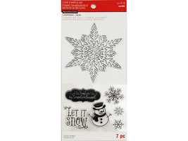 Recollections Christmas Stamp & Die Set #565643, Cute Snowman and Snowflakes!