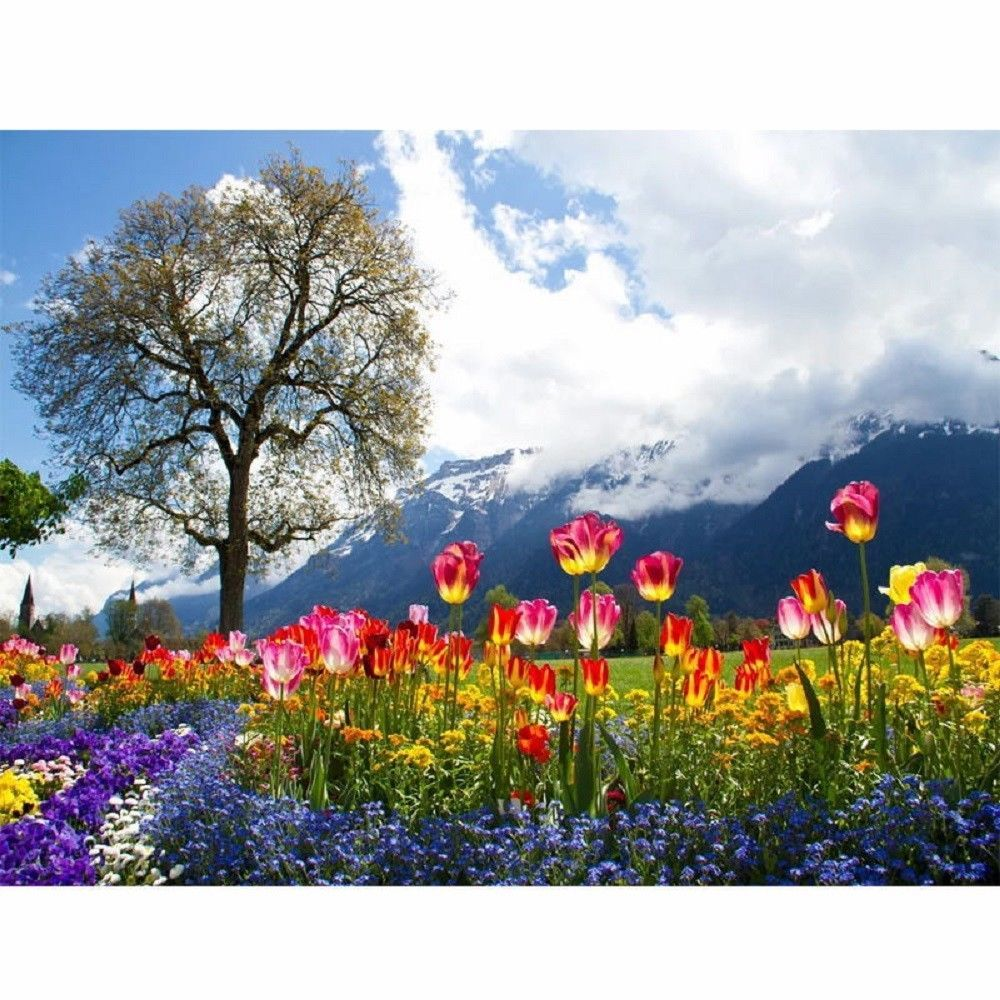"Flower Landscape 16X20"" Paint By Number Kit DIY Acrylic Painting Linen Canvas"