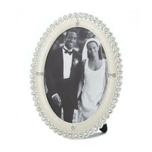 """Row of Rhinestones Around and Oval Frame Holds 5: x 7"""" Photo Easel on Back - $32.45"""