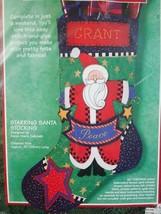 Christmas Stocking Felt Kit Sunset Stitch and Glue Starring Santa 15 in - $15.00