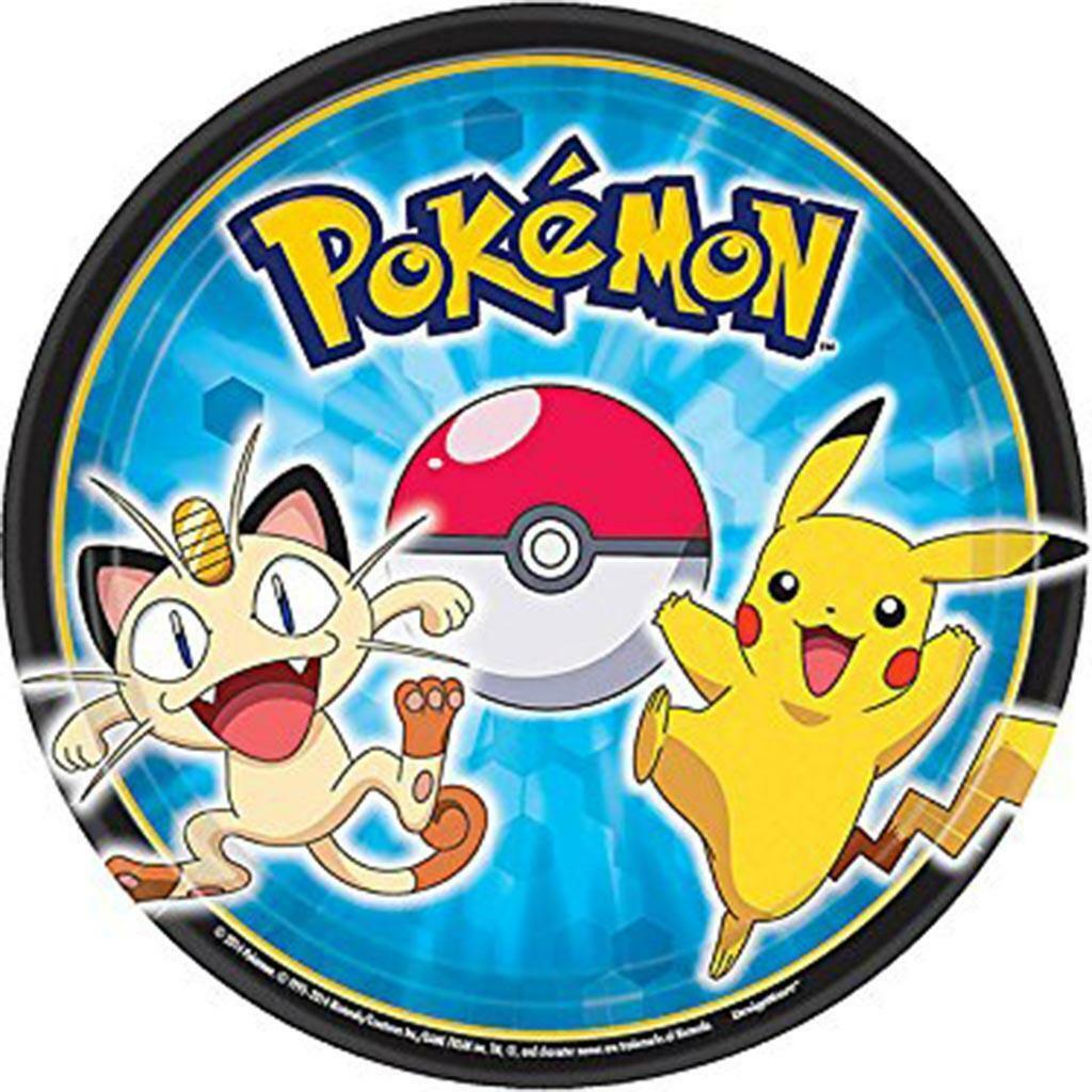 Pokemon Pikachu & Friends Dessert Plates 8 Per Package Birthday Party Supplies