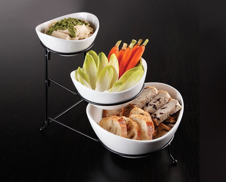 Ceramic Chip and Dip Serving Bowl set - Chips Bowl With Dip Sauce Bowl & Rack