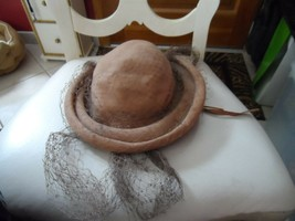 Ladies vintage brown hat with net by Suzy Lee for Joseph Horne Co. - $15.00
