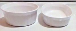 Set Of 2 Corning ware Round White Casserole Ramekin Dishwasher Safe Oven... - $14.85