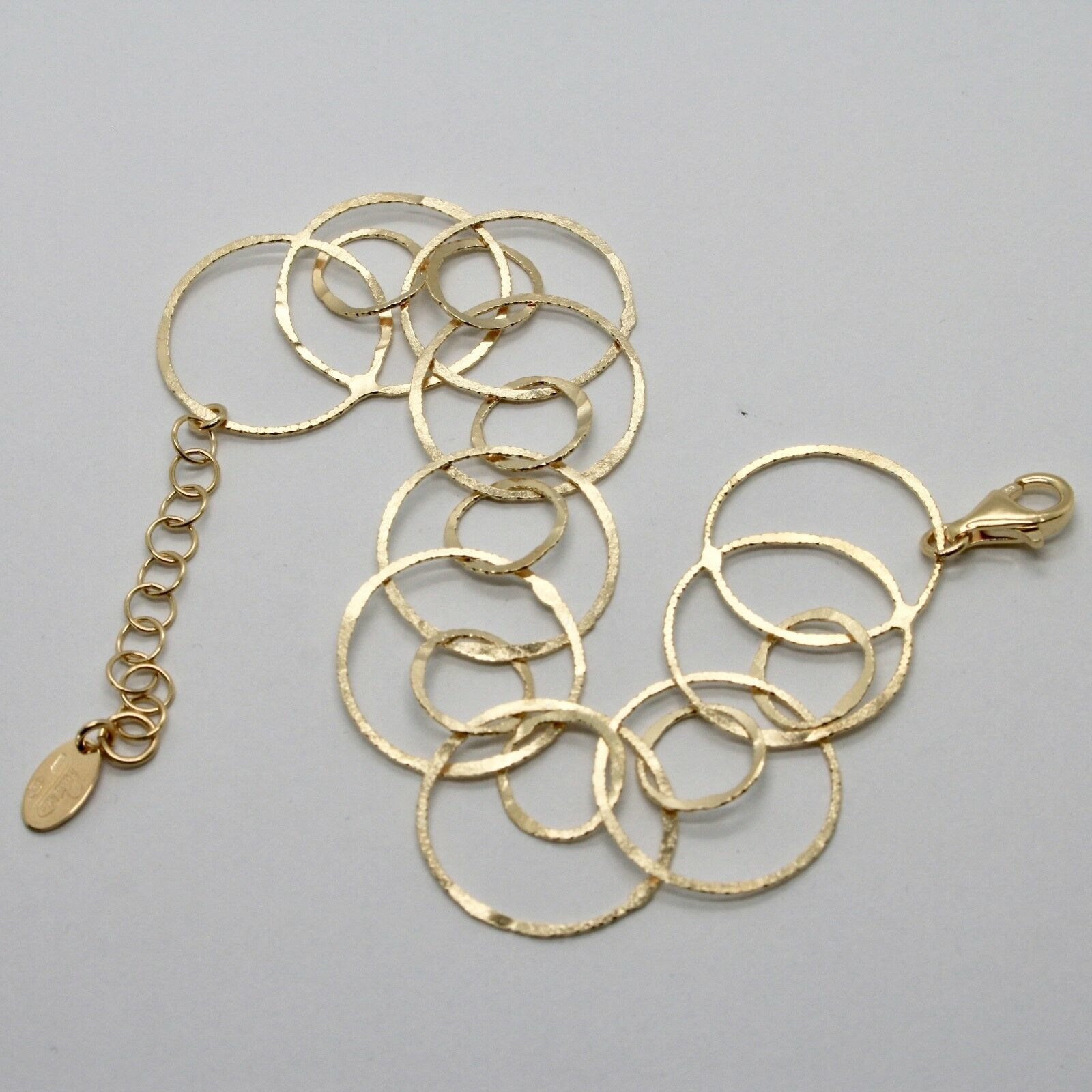 Armband 925 Silber Blatt Vergoldet Creolen Mattiert By Maria Ielpo Made in Italy