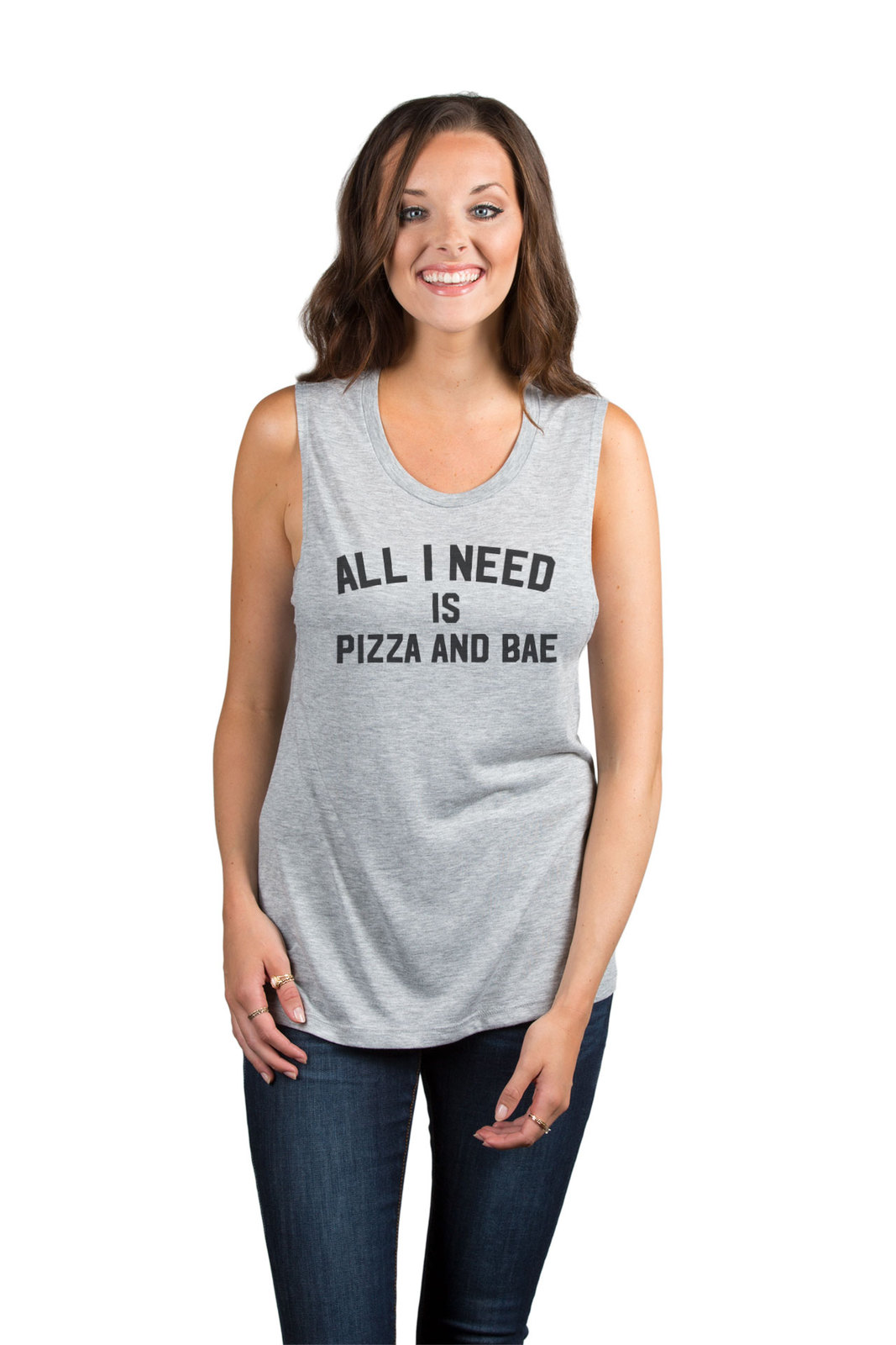 Thread Tank All I Need is Pizza and Bae Women's Sleeveless Muscle Tank Top Tee S