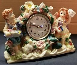 I) Tabletop Mantle Boy Girl Bunny Garden Clock Battery Analog Shelf Clock - $5.93