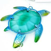 Metal & Glass Blue Green Sea Turtle Suncatcher Sun Catcher Ornament Decoration image 2