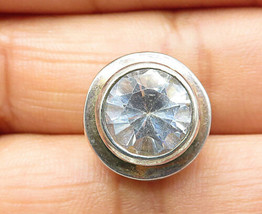 925 Sterling Silver - Vintage Round Cut Cubic Zirconia Slide Pendant - P... - $22.54